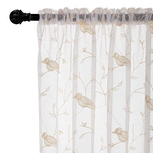 Christmas Embroidered White Sheer Curtains for Living Room Voile Embroidery Birds and Leaf Window Curtain for Bedroom Drapes 52 X 63 inches Rod Pocket 1 Panel White