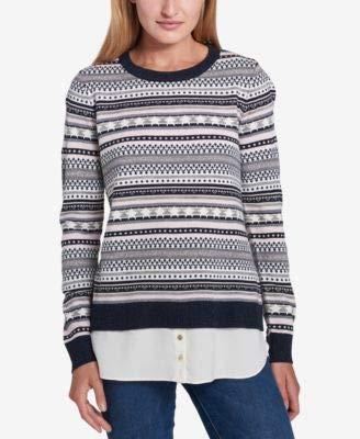 Tommy Hilfiger Womens Fair-Isle Twofer Crewneck Sweater Blue XL