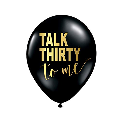 White Rabbits Design Talk Thity to Me Balloons for a 30th Birthday Party in Black and Metallic Gold, Set of 3, Talk 30 to Me Balloons, Funny 30th Birthday Decor, Talk Thirty ()