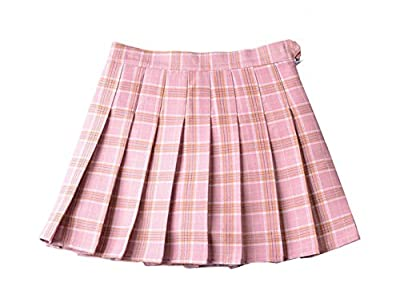 Soojun Womens High Waist Plaid Pleated Schoolgirl Mini Skirt