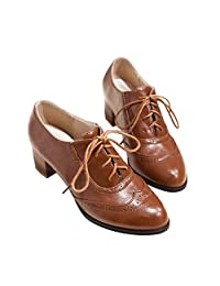 Susanny Women's Shoe Classic Lace Up Dress Pumps Mid Heel Wingtip Saddle Oxfords Brogue Shoes
