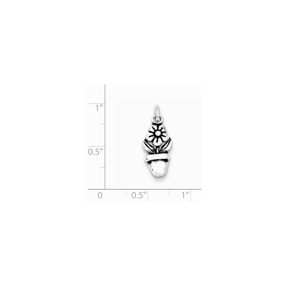 Sterling Silver Antiqued Flower In A Pot Charm