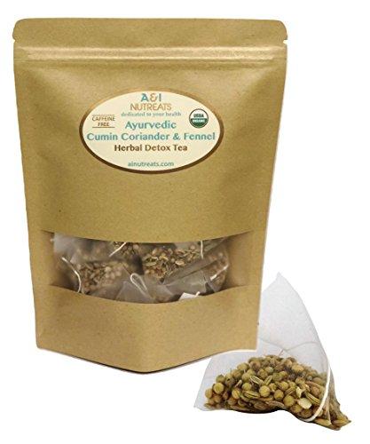 Ayurvedic Cumin, Coriander and Fennel Tea – Premium whole leaf pyramid tea sachet bags - USDA Organic, Herbal Detox Tea – Improves digestion, Increases metabolism (28 CCF Sachets)