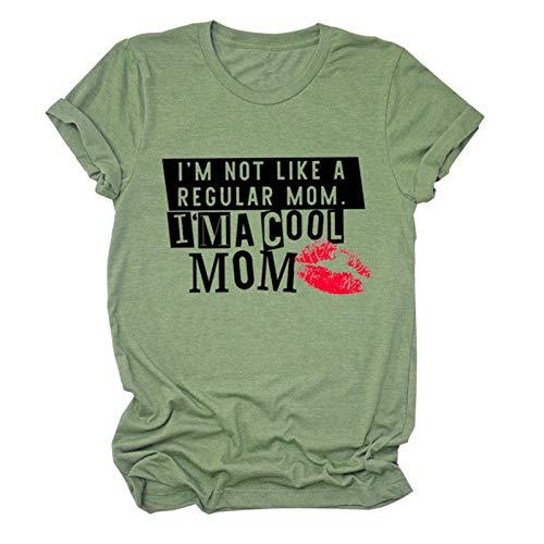 Ik ben niet als een gewone moeder ik ben een leuke mama grappige t-shirt (Color : Green, Size : L)