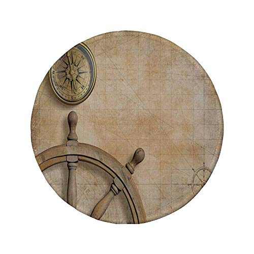 Non-Slip Rubber Round Mouse Pad,Nautical,Steering Wheel and Compass Vintage Map Setting Captains Chamber Finding Treasure Print,Beige,7.87