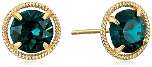 10k Gold Made with Swarovski Birthstone May Stud Earrings (10k Crystal Gold)