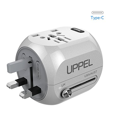 Travel Adapter, UPPEL Universal Power Adapter, European Adapter Wall Charger Power All in One Worldwide AC Power Converters with USB & Type-C Port for US, AU,Asia, EU, UK and Over 150 Countries(White) (Adapter Universal Power Wall)
