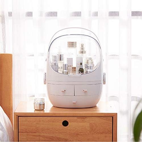 化粧品収納ボックス デスクトップ大容量化粧品収納ボックス透明カバー防塵引き出し化粧品ケースアクリルピンクホワイト SYFO (Color : White)