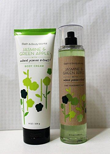 Jasmine Bath Foaming (Bath and Body Works JASMINE GREEN APPLE Gift Set of Fine Fragrance Mist & Body Cream)