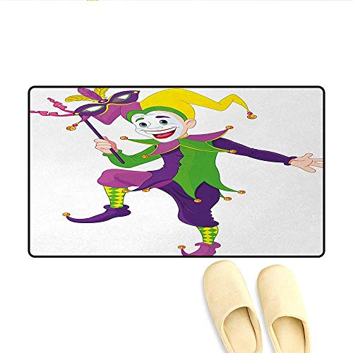 Door Mats,Cartoon Style Jester in Iconic Costume with Mask Happy Dancing Party Figure,Bath Mat Non Slip,Multicolor,Size:16