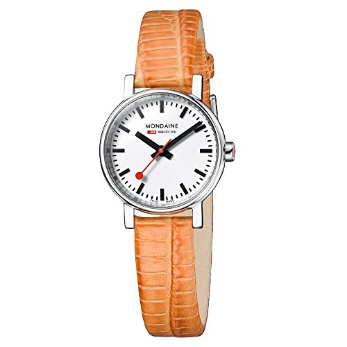mondaine-a6583030111sbg-evo-petite-white-dial-orange-leather-womens-watch
