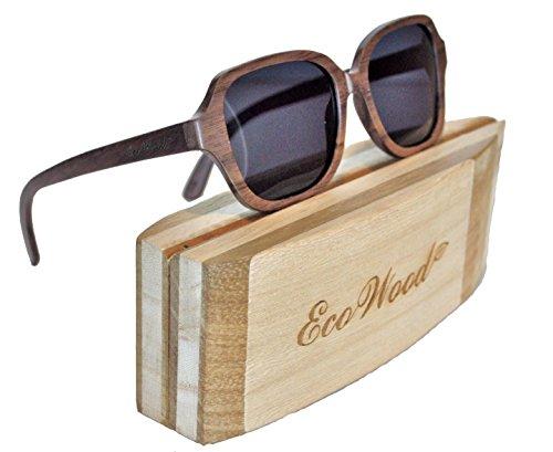 EcoWood Walnut Wood Coralis Wood Sunglasses with Dark Gray Polarized - Madera Sunglasses