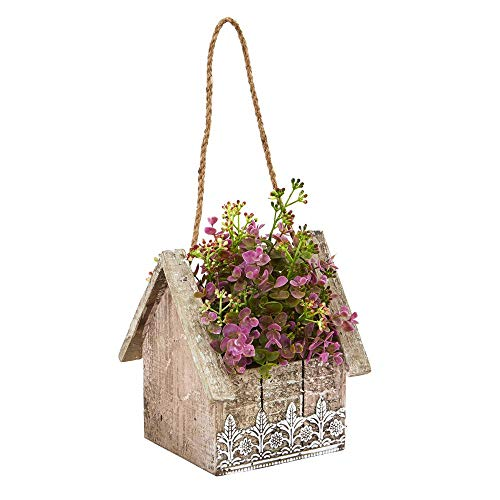 - Nearly Natural Indoor Sedum and Eucalyptus Artificial Plant in Birdhouse Hanging Basket