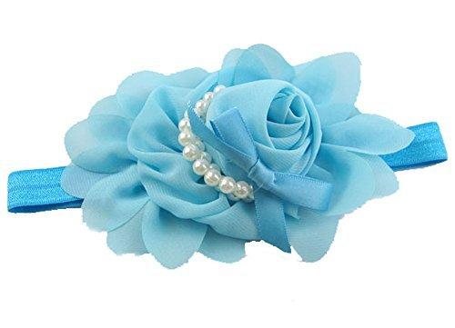 JUNGEN Babyhaarband Mä dchen Stirnbä nder Rose Perle Blumen Stirnband Haarband Haarschmuck (Blau) China