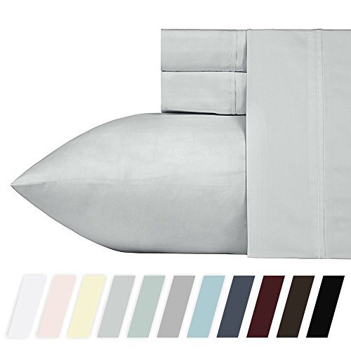 California Design Den 400 Thread Count 100% Cotton Sheets - Light Grey Long-staple Cotton California King Sheets, Fits Mattress Upto 18'' Deep Pocket, Soft Sateen Cotton Bedsheets and Pillowcases by