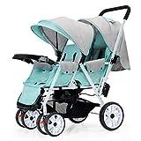 OCYE Double Stroller/Twin Tandem Baby Stroller/Foldable Double Seat Baby Stroller, Light Adjustable backrest Oversized Storage Basket Five-Point seat Belt with Plate