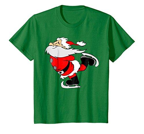Kids Ice Skating Santa Funny Christmas T-Shirt 4 Kelly (Ice Skating Santa)