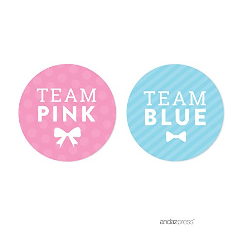 Team Party Decoration (Andaz Press Team Pink Team Blue Gender Reveal Baby Shower Party, Round Circle Labels Stickers, Team Pink Team Blue, 40-pack, For Themed Party Favors, Gifts, Decorations)