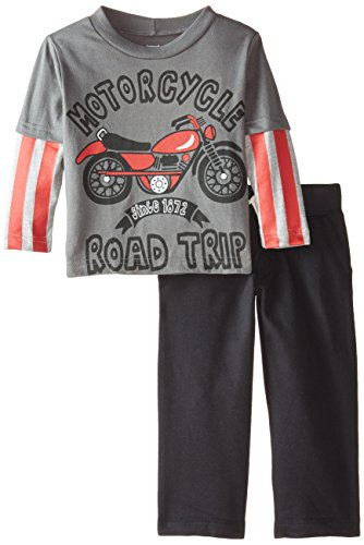 Gerber Graduates Baby Boys' Motorcycle Long Sleeve Top and Black Pant Set, Motorcycle, 12 Months