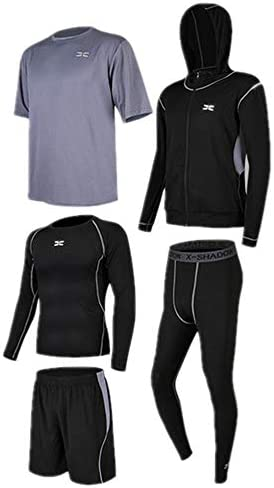 レディースジャージ上下セット 半袖Tシャツショーツメンズフィットネスウェアセット5 in 1とセットアウトウェア付き長袖シャツタイトパンツ 吸汗 速乾 (Color : Black gray, Size : L)