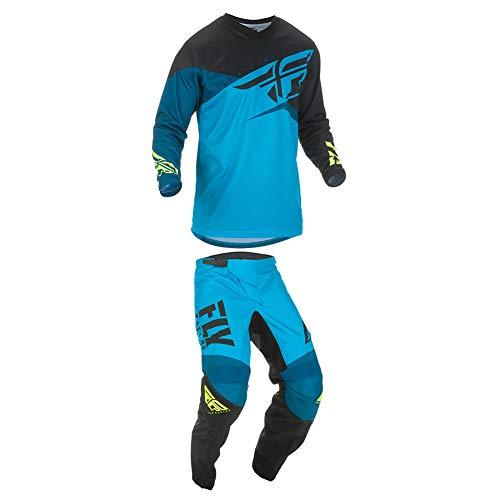 Fly Racing 2019 F-16 Jersey and Pants Combo Youth Blue/Black/Hi-Vis Small,22 (Dirt Bike Jersey And Pants Youth)