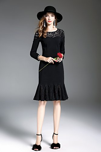 4 Ruffled Knee Dress Angcoco Hollowed 3 Black Hem Length Sleeve Women's Out TaY8E