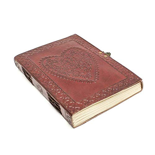 (Leather Journal Travel Notebook - Handmade Heart Embossed Writing Diary for Men and Women With Lock - Perfect For Travelers to Write in - Plain Unlined Pages, 6 x 8 Inches)