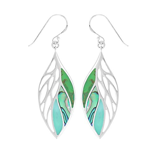 Boma Jewelry Sterling Silver Green Turquoise, Abalone, Green Mother-of-Pearl Leaf - Turquoise Green Pearl