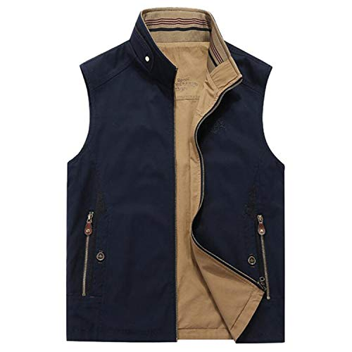 Men Vests Reversible Summer Autumn Cool Casual Breathable 100% Cotton Cargo Man Gauze Vest Middle-Aged Plus Size Dark Blue