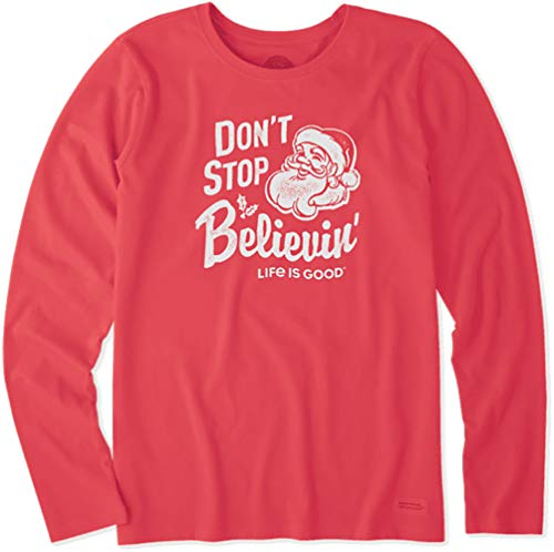Life is Good. Womens Long Sleeve Crusher Tee: Santa Don't Stop, Americana Red - L