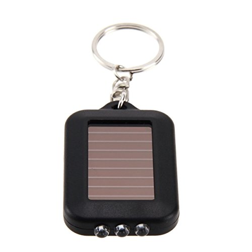 1Pc First-Rate Unique Mini Small Pocket 3x LED Flashlight Solar Power Keychain Keyring Keyfob LEDs Flashlights Bike Bicycle Night Light Coast Bright Waterproof Camping Tactical Torch Lamp Color Black