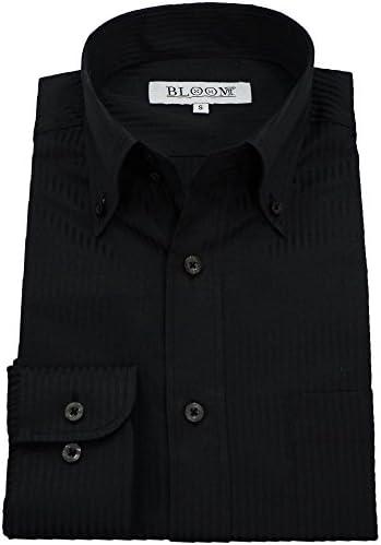 (ブルーム)BLOOM ワイシャツ 長袖 黒 Yシャツ ビジネス 制服 ユニフォーム 大きいサイズ 形態安定 レギュラーカラー ボタンダウン