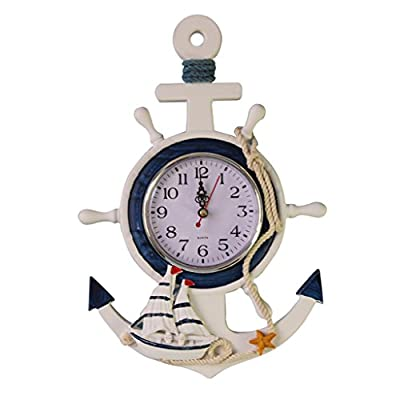 MagiDeal Anchor Clock Beach Sea Theme Nautical Ship Wheel Rudder Steering Wheel Starfish Decor Wall Hanging Decoration