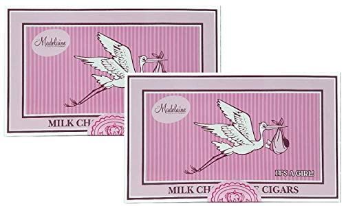 Pink Chocolate Cigars (Madelaine Chocolates It's a Girl Gift Box - Solid Premium Milk Chocolate Cigars Wrapped In Pink Italian Foil - 24 Cigars - 2)