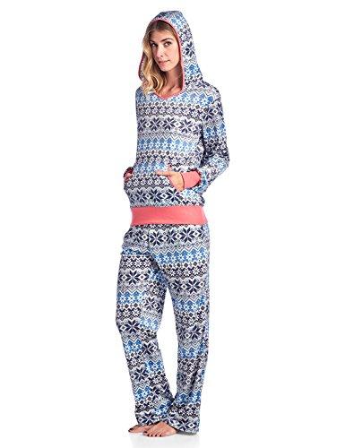 Ivory Lounge Set - Ashford & Brooks Women's Mink Fleece Hoodie Pajama Set - Fair Isle Ivory - Small