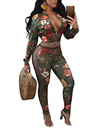 Womens 2 Piece Outfits Floral Print Jacket Suit Bodycon...