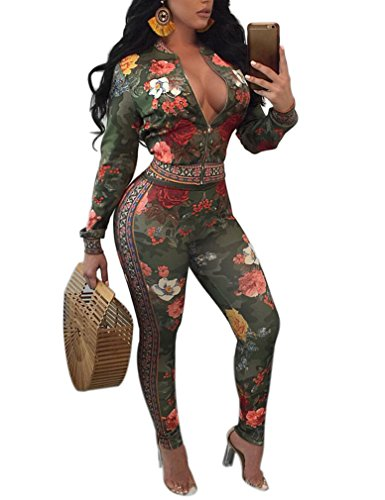 Womens Floral Print Two Piece Outfits Jacket + Long Pants Set Sweatsuits Green L