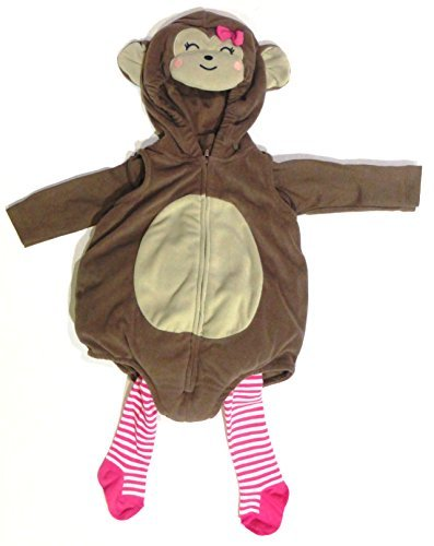 Carters Girl Monkey Costume 3 Pieces Top Tee Shirt & Tights Brown Size 6-9 Months