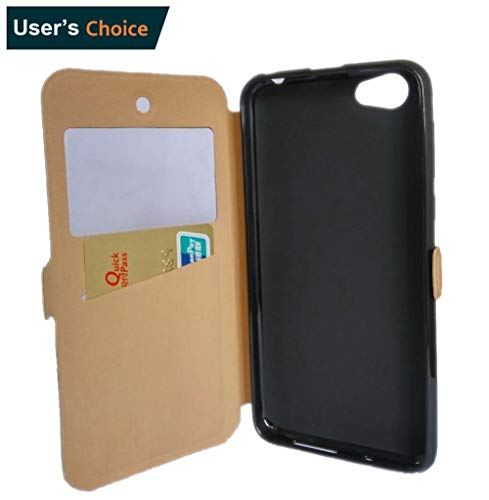 LIQING BLU Studio Selfie 3 Case [Flip Cover Case PU Leather Wallet Case With Stand For BLU Studio Selfie 3] [BLU Studio Selfie 3 View window ID Card Slot Prective Case] ([View window]-Gold)