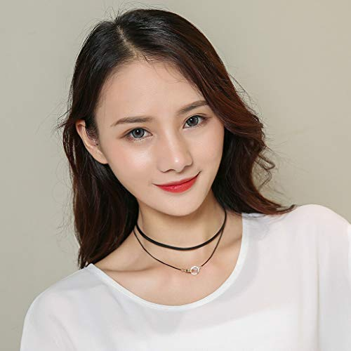 Choker Collar Double Ring Pendant Clavicle Necklace Punk Rock Gothic Black Necklace Jewelry Crafting Key Chain Bracelet Pendants Accessories Best