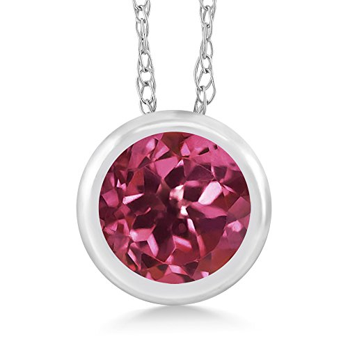 Gem Stone King 0.50 Ct Round Pink Tourmaline 14K White Gold Pendant With Chain