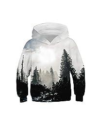 Moonker Baby Girls Boys Teen Hoodie Sweatshirt Tops 4-13 Years Old Kids Long Sleeve Galaxy Fleece Print Cartoon Pullover
