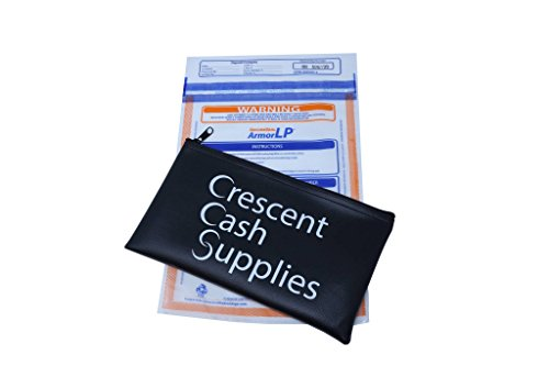 Bank Deposit Security Bags for Cash. Tamper Evident and Resistant Plastic, Perfect for Night Time Safe Money Drop. Comes with 100 Bags and 1 Black Vinyl Pouch. by Crescent Cash Supplies (Image #1)