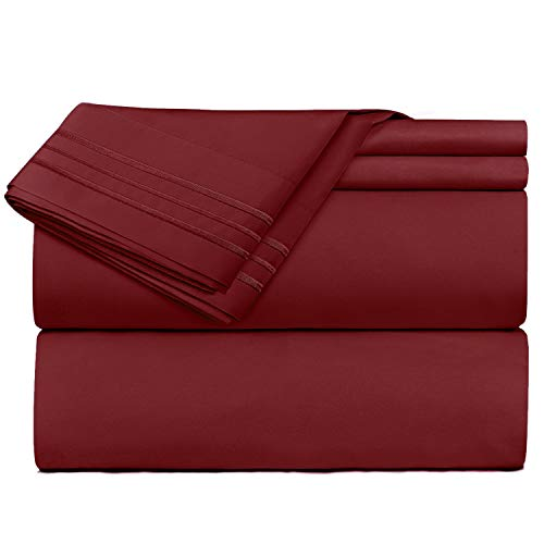 Nestl Bedding Soft Sheets Set - 4 Piece Bed Sheet Set, 3-Line Design Pillowcases - Easy Care, Wrinkle Free - Good Fit Deep Pockets Fitted Sheet - Warranty Included - King, Burgundy Red (King Sets Burgundy Bed Size)