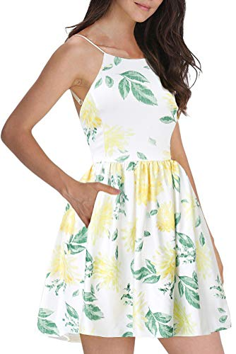 FANCYINN Women's Floral Print Short Dress Spaghetti Strap Backless Mini Skate Dress Chrysanthemum XL