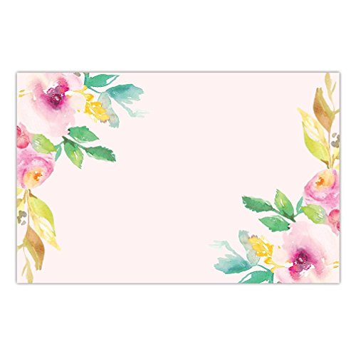 DB Party Studio Paper Placemats Floral 25 Pack Pink Watercolor Disposable Place Mats For Parties Bridal Baby Shower Birthday Event Party Decor Kitchen Table Setting Decoration 17