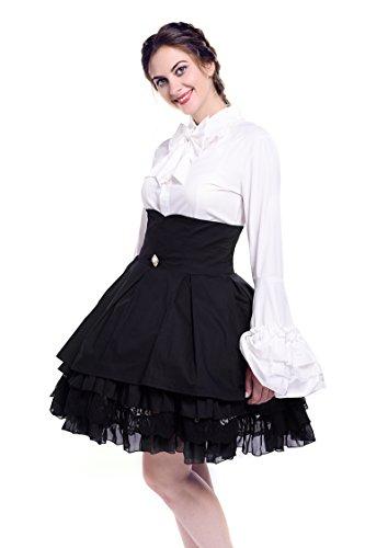 (Nuoqi Women Stand-Up Collar Lotus Ruffle Shirt Retro Victorian Lolita Blouse (Small, Milk))