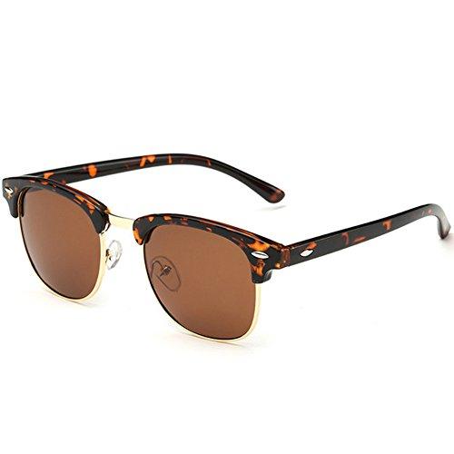 Joopin Semi Rimless Polarized Sunglasses Women Men Brand Vintage Glasses Plaroid Lens Sun Glasses (Leopard (05 Glasses)