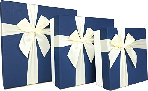 Cypress Lane Square Gift Boxes with Ribbon, a Nested Set of 3 (Blue/White)