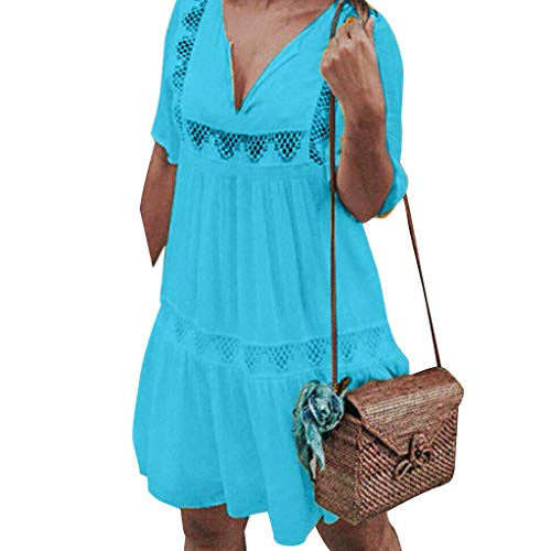 BODOAO Women Dress V Neck Mini Bohemian Dress Casual Beach Holiday Hollow Short Dress Blue